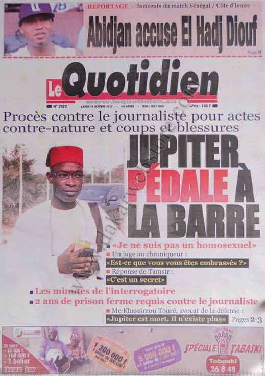 A la Une du Journal Le Quotidien du 18 Octobre