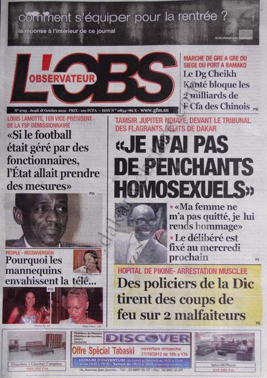 A la Une du Journal L'Observateur du 18 Octobre