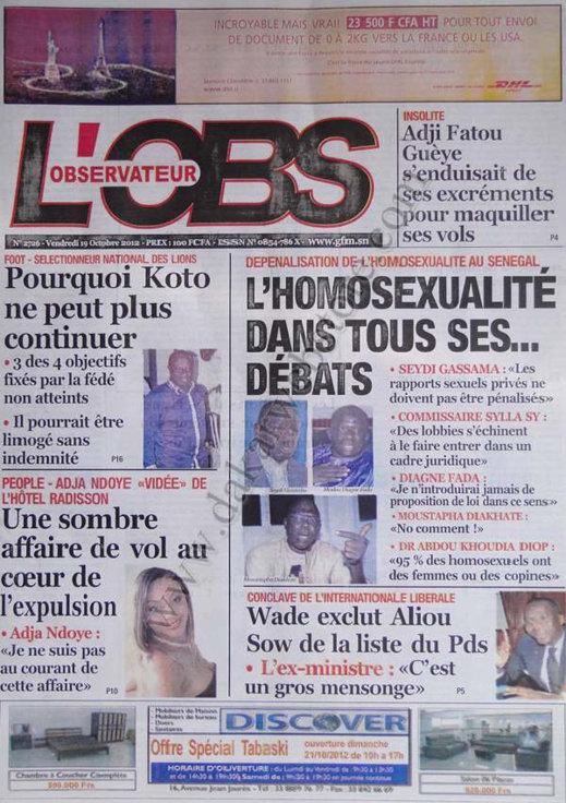 A la Une du Journal L'Observateur du 19 Octobre