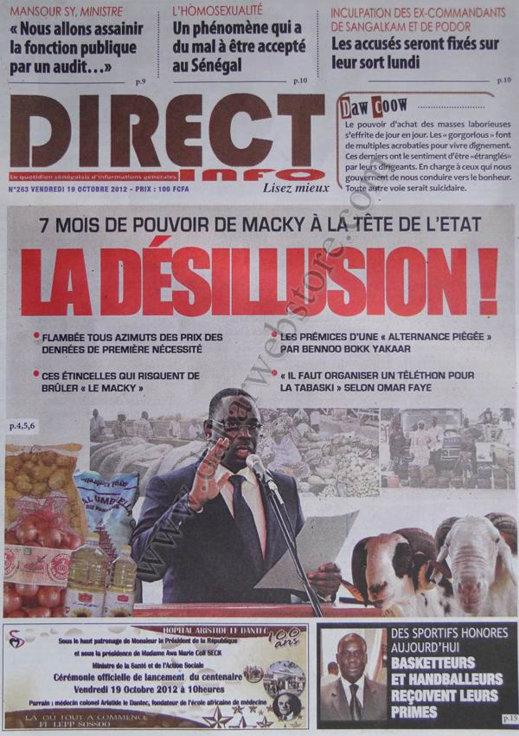 A la Une du Journal Direct Info du 19 Octobre