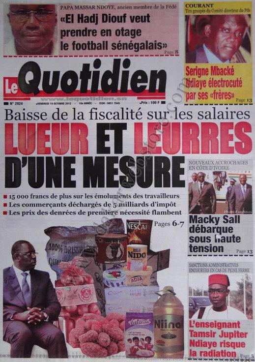 A la Une du Journal Le Quotidien du 19 Octobre
