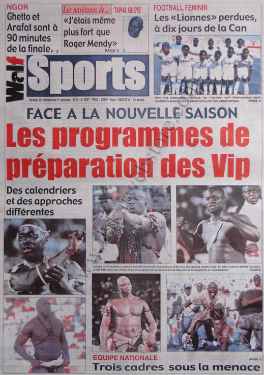 A la Une du Journal Walf Sports du 20 Octobre