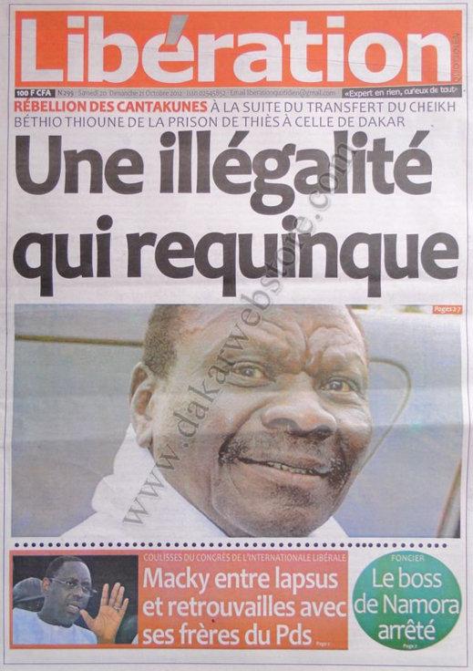 A la Une du Journal Libération du 20 Octobre