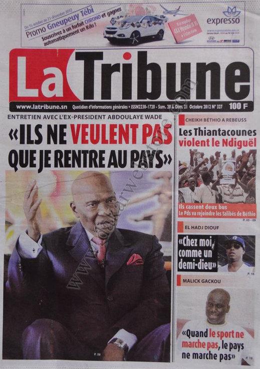 A la Une du Journal La Tribune du 21 Octobre