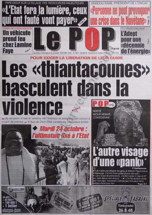 A la Une du Journal Le Populaire du 20 Octobre