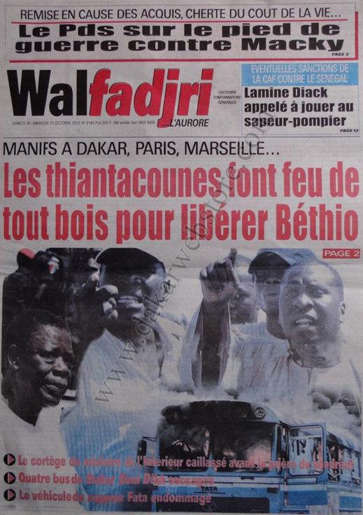 A la Une du Journal Walfadjri du 20 Octobre