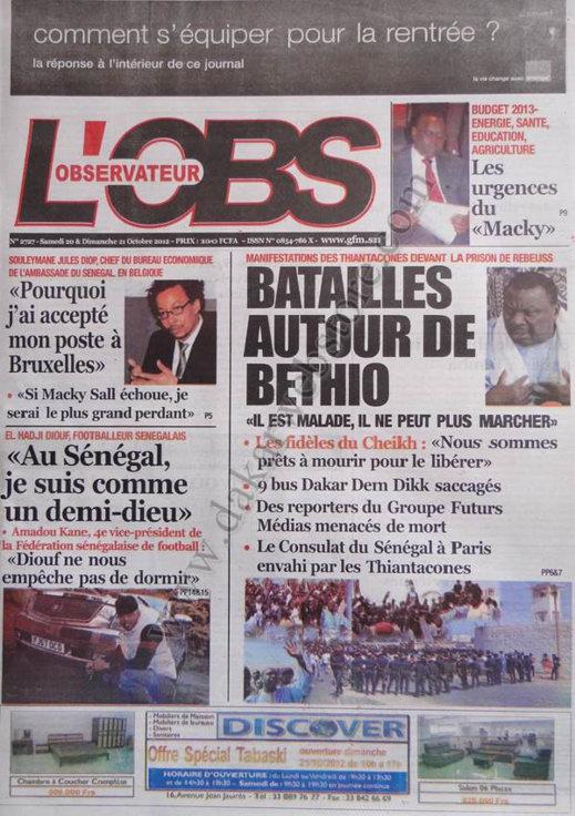 A la Une du Journal L'Observateur du 20 Octobre