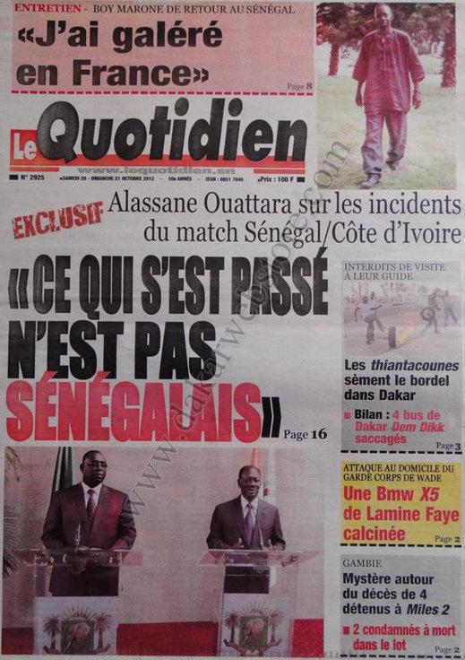 A la Une du Journal Le Quotidien du 20 Octobre