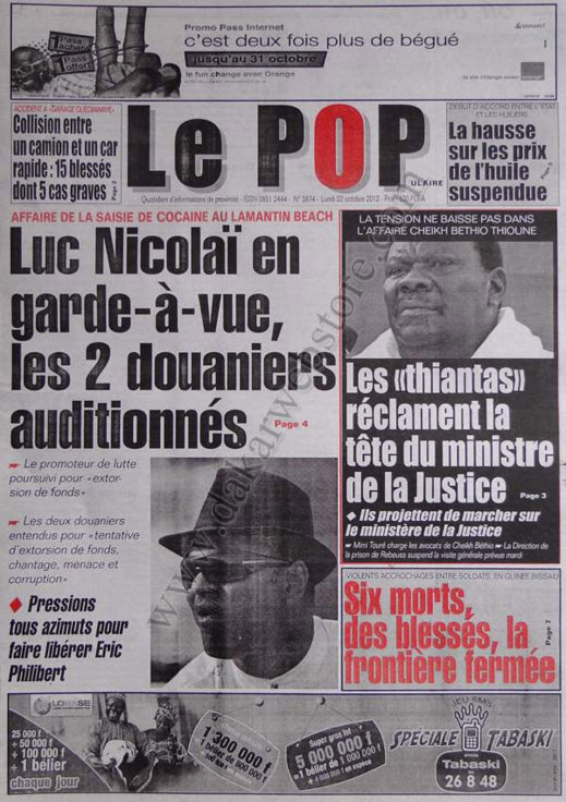 A la Une du Journal Le Populaire du 22 Octobre