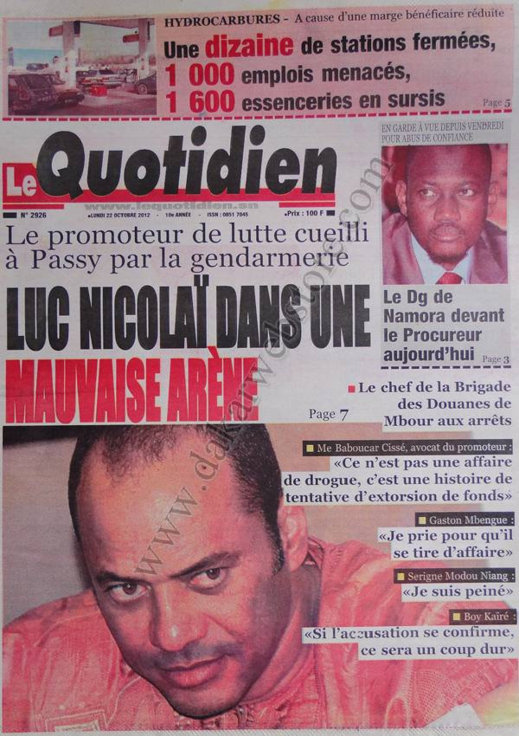 A la Une du Journal Le Quotidien du 22 Octobre