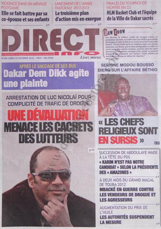A la Une du Journal Direct Info du 22 Octobre