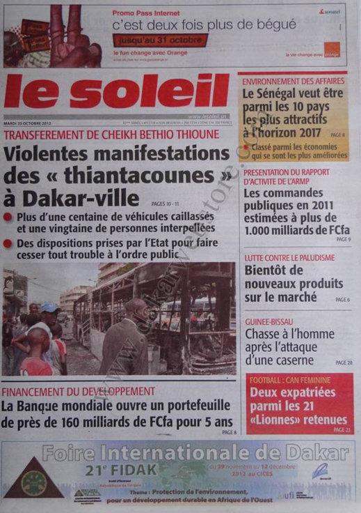 A la Une du Journal Le Soleil du 23 Octobre