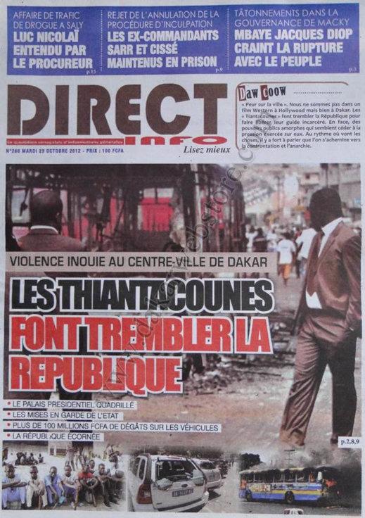 A la Une du Journal Direct Info du 23 Octobre