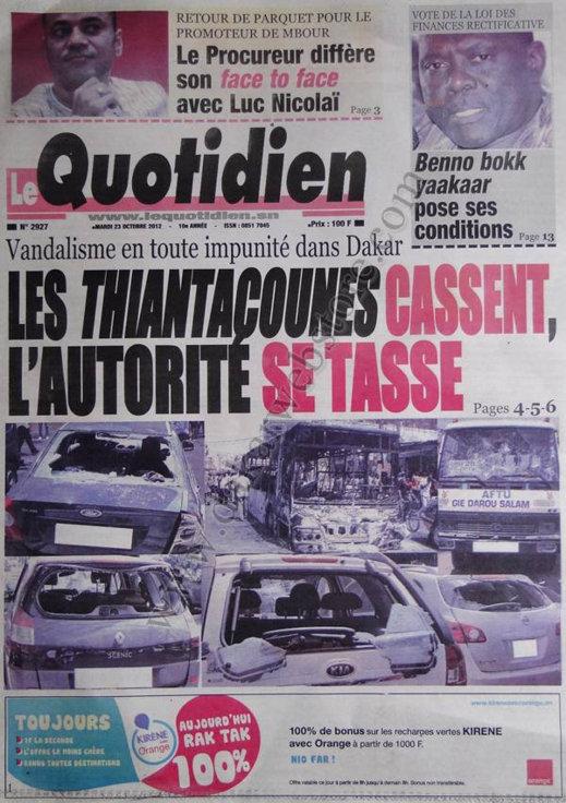 A la Une du Journal Le Quotidien du 23 Octobre