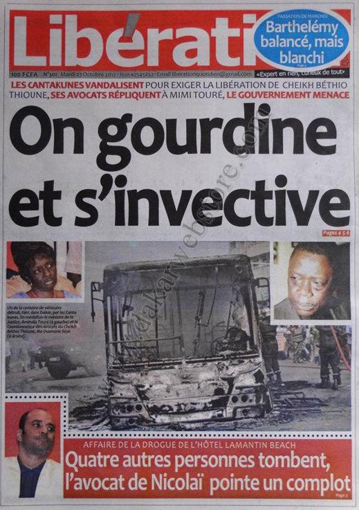 A la Une du Journal Libération du 23 Octobre