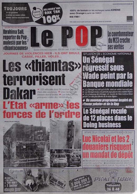 A la Une du Journal Le Populaire du 23 Octobre
