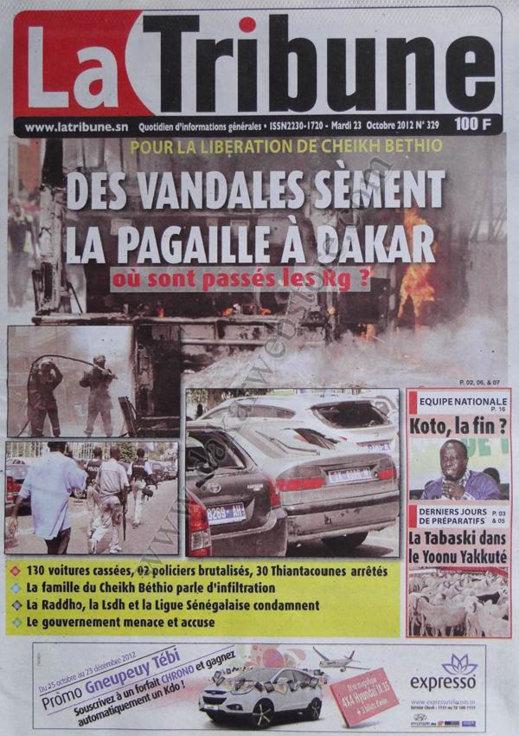 A la Une du Journal La Tribune du 23 Octobre