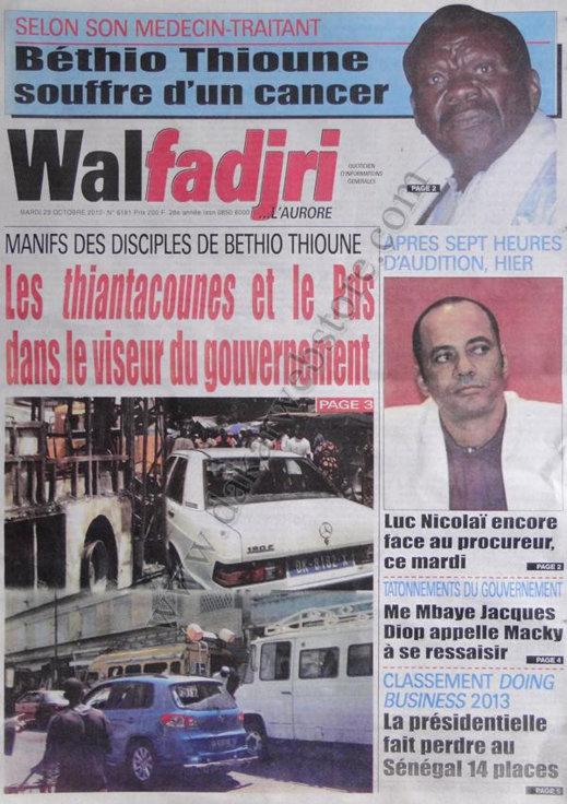 A la Une du Journal Walfadjri du 23 Octobre