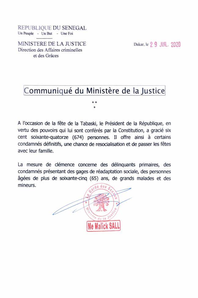 Grâce présidentielle: Macky Sall a gracié 674 prisonniers