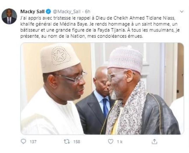 Décès du Khalife de Médina Baye: Macky Sall présente ses condoléances à la Nation et rend hommage au saint homme