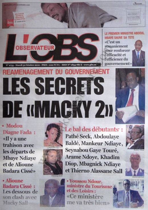 A la Une du Journal L'Observateur du 30 Octobre
