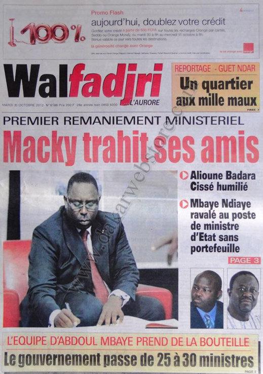 A la Une du Journal Walfadjri du 30 Octobre