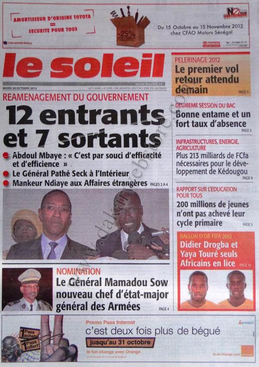 A la Une du Journal Le Soleil du 30 Octobre