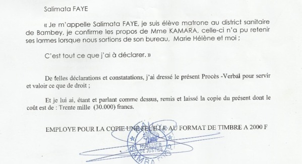 [Documents] Bambey dénonce une « injustice »