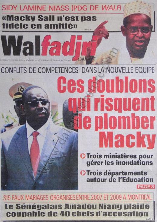 A la Une du Journal Walfadjri du 31 Octobre