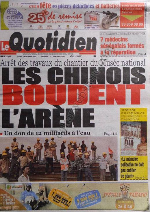 A la Une du Journal Le Quotidien du 05 Novembre