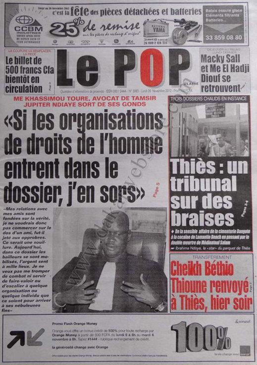 A la Une du Journal Le Populaire du 05 Novembre