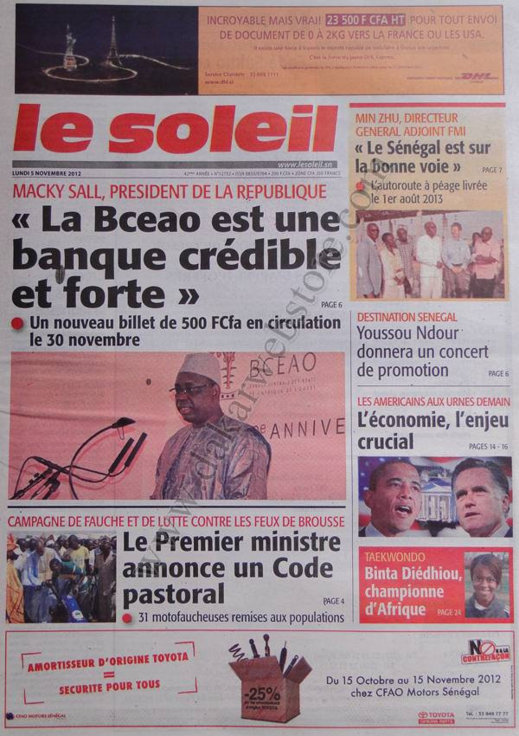 A la Une du Journal Le Soleil du 05 Novembre
