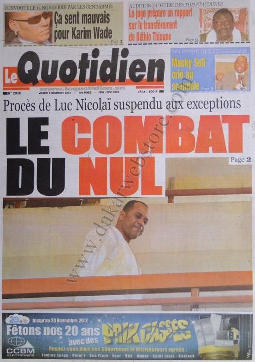 A la Une du Journal Le Quotidien du 06 Novembre