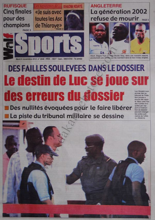 A la Une du Journal Walf Sports du 06 Novembre