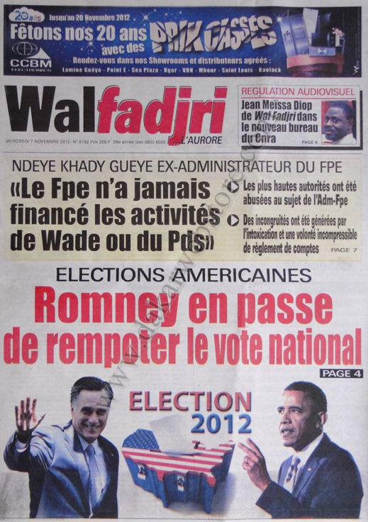A la Une du Journal Walfadjri du 07 Novembre