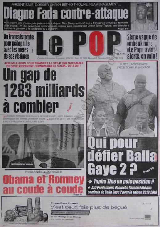 A la Une du Journal Le Populaire du 07 Novembre