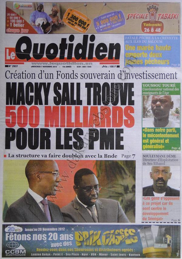A la Une du Journal Le Quotidien du 07 Novembre