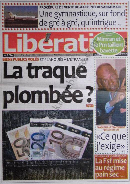 A la Une du Journal Libération du 07 Novembre