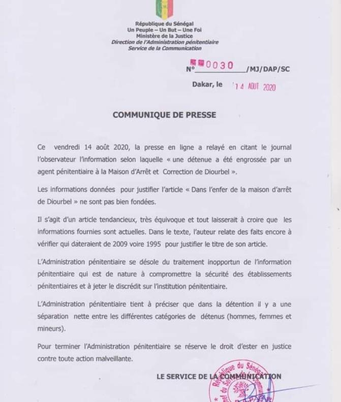 Détenue engrossée à la prison de Diourbel: Les précisions de l'Administration pénitentiaire