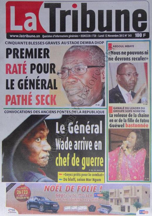 A la Une du Journal la Libération du 12 Novembre