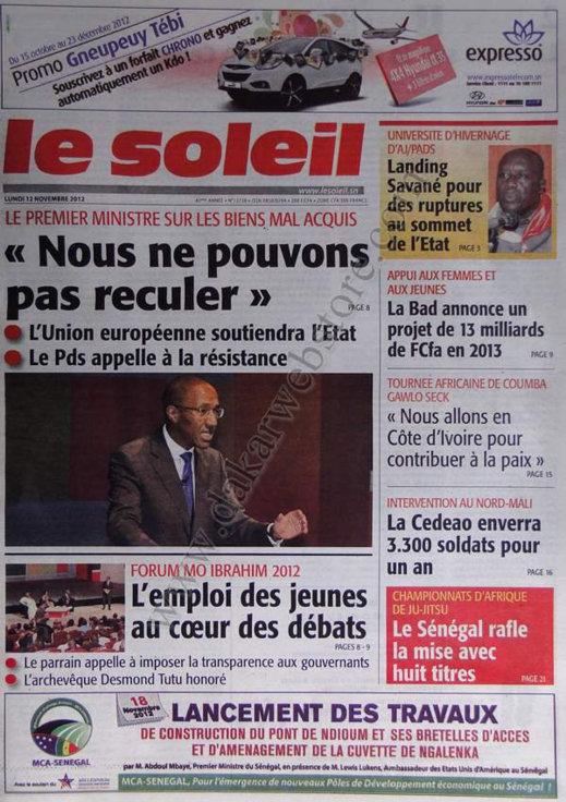 A la Une du Journal Le Soleil du 12 Novembre