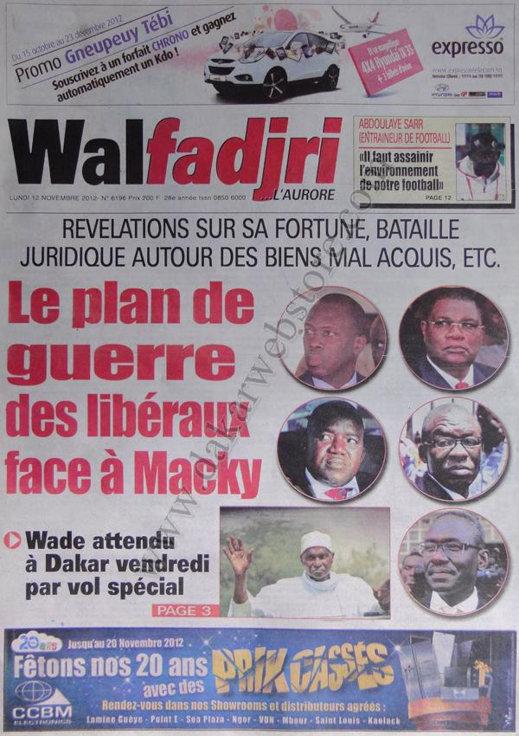 A la Une du Journal Walfadjri du 12 Novembre
