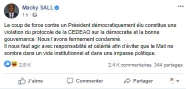 Coup d'Etat au Mali: «Le coup de force contre un Président démocratiquement élu constitue une violation du protocole de la CEDEAO »(Macky Sall)