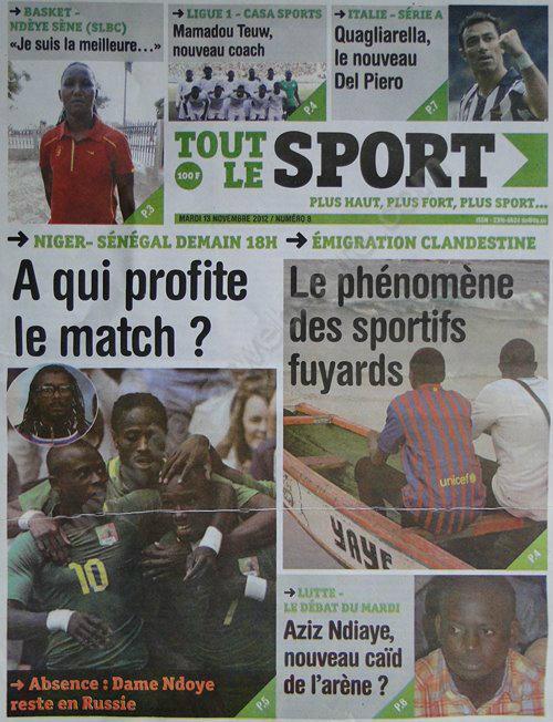 A la Une du Journal Tout Le Sport du 13 Novembre