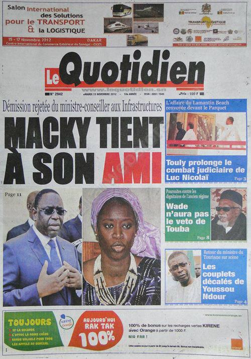 A la Une du Journal Le Quotidien du 13 Novembre