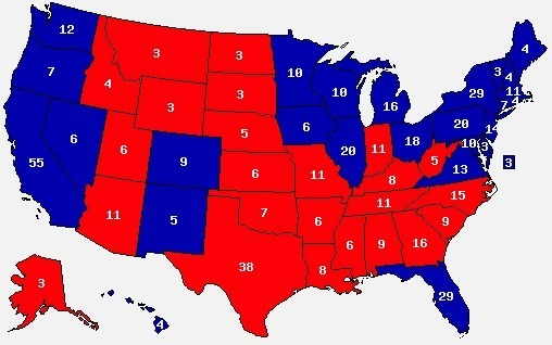 Les Etats-Unis, entre le  «Rouge» et  le «Bleu»