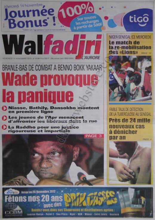 A la Une du Journal Walfadjri du 14 Novembre