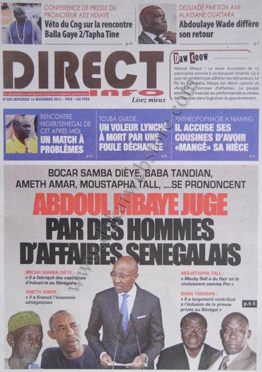 A la Une du Journal Direct Infos du 14 Novembre
