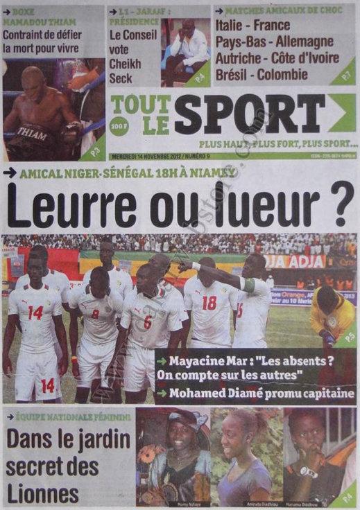 A la Une du Journal Tout Le Sport du 14 Novembre