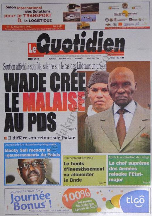 A la Une du Journal Le Quotidien du 14 Novembre